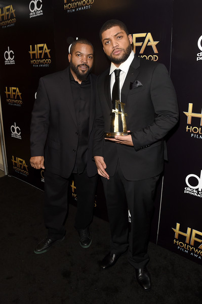 Recording artist Ice Cube (L) and actor O'Shea Jackson, Jr., winner of the Hollywood Breakout Ensemble Award for 'Straight Outta Compton', pose in the press room during the 19th Annual Hollywood Film Awards at The Beverly Hilton Hotel on November 1, 2015 in Beverly Hills, California.