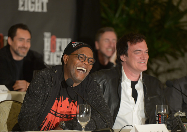 Samuel L. Jackson and Quentin Tarantino attend THE HATEFUL EIGHT Press Conference at Four Seasons Hotel Los Angeles at Beverly Hills on December 5, 2015 in Los Angeles, California.