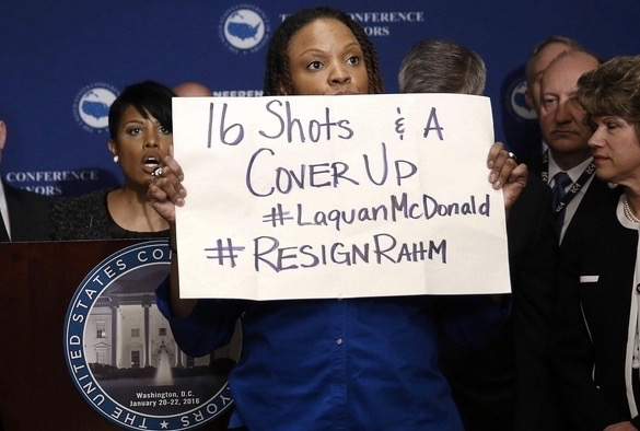 Black Lives Matter protester at the annual Conference of Mayors' meeting on Wednesday in Washington DC