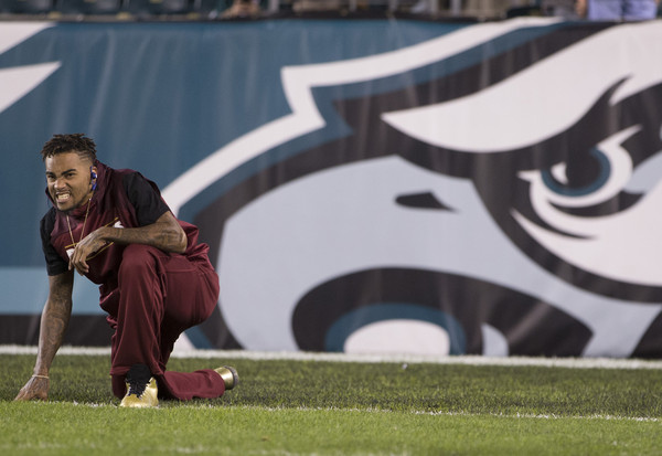 DeSean Jackson #11 of the Washington Redskins warms up prior to the game against the Philadelphia Eagles on December 26, 2015 at Lincoln Financial Field in Philadelphia, Pennsylvania.