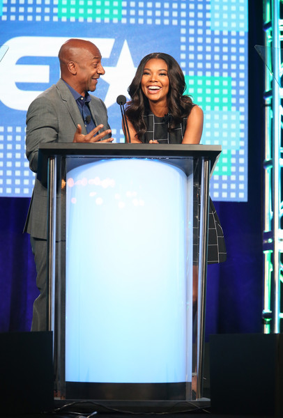 Stephen Hill, president of programming, BET, and actress Gabrielle Union speak onstage during the BET-Zoe Ever After panel as part of the Viacom portion of This is Cable 2016 Television Critics Association Press Tour at Langham Hotel on January 6, 2016 in Pasadena, California.