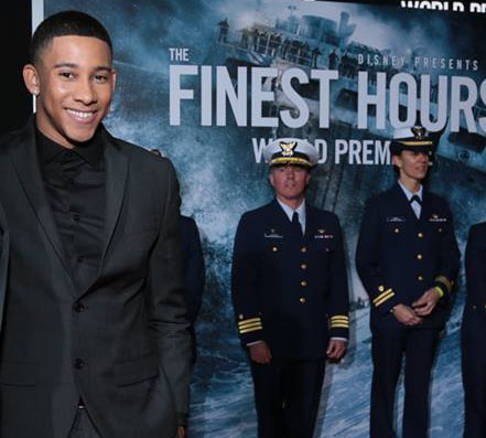 Keiynan Lonsdale at World Premiere of 'The Finest Hours' with US Coast Guard Band.