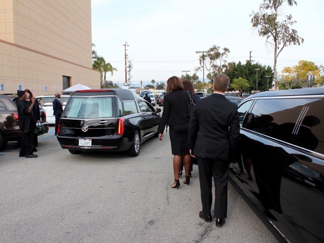 natalie funeral - forest lawn hearse