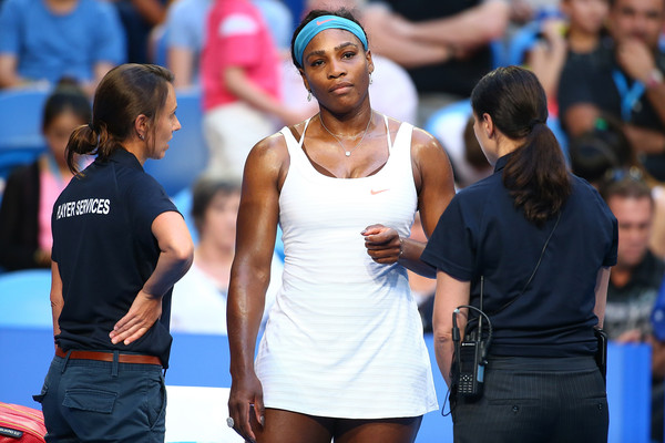 Serena Williams of the United States looks on during her singles match against Jarmila Wolfe of Australia Gold during day three of the 2016 Hopman Cup at Perth Arena on January 5, 2016 in Perth, Australia.