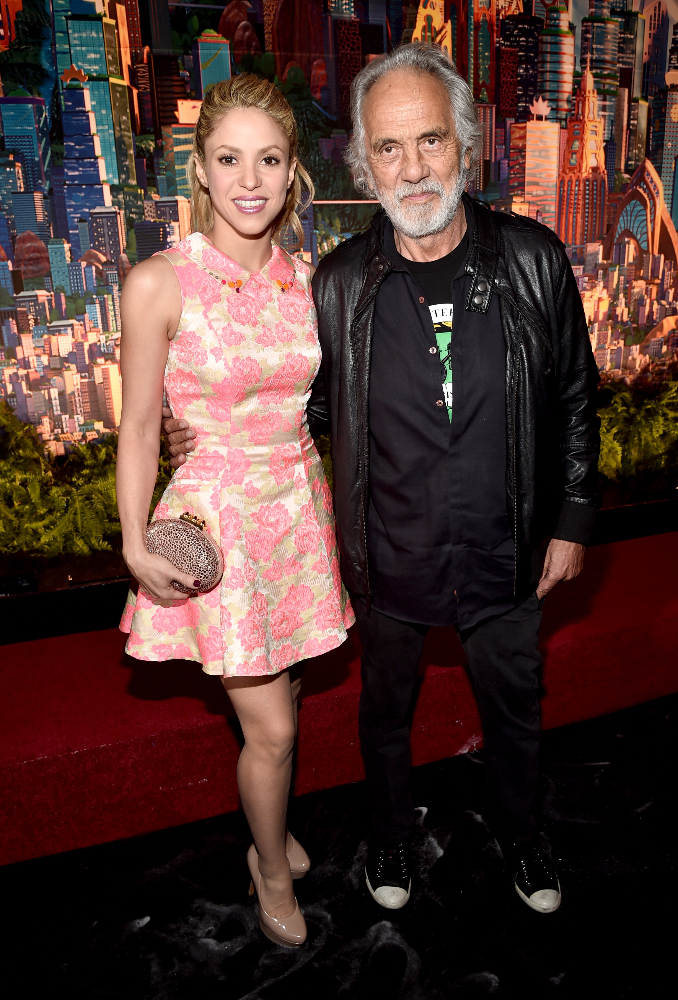 Singer Shakira (L) and actor Tommy Chong attend the Los Angeles premiere of Walt Disney Animation Studios' 'Zootopia' (Photo by Alberto E. Rodriguez/Getty Images for Disney)