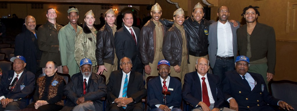 Cast of FLY at Pasadena Playhouse opening night Jan. 31, 2016 pictured with members of LA Chapter of Tuskegee Airmen. Artistic Director Sheldon Epps (standing far Lft) Writer/director Ricardo Khan- center. Co-writer Trey Ellis 2nd from far Rt) Photo credit: Earl Gibson lll