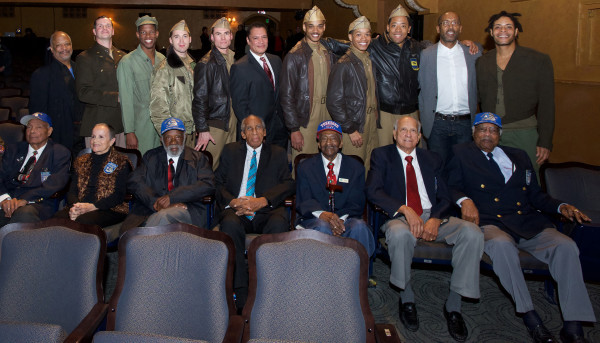 The Cast with Joan and real Tuskegee Airmen