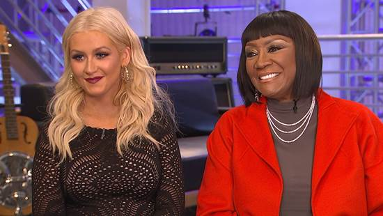 "Christina Aguilera and Patti LaBelle on ""Access Hollywood"" discussing their collaboration on ""The Voice"""