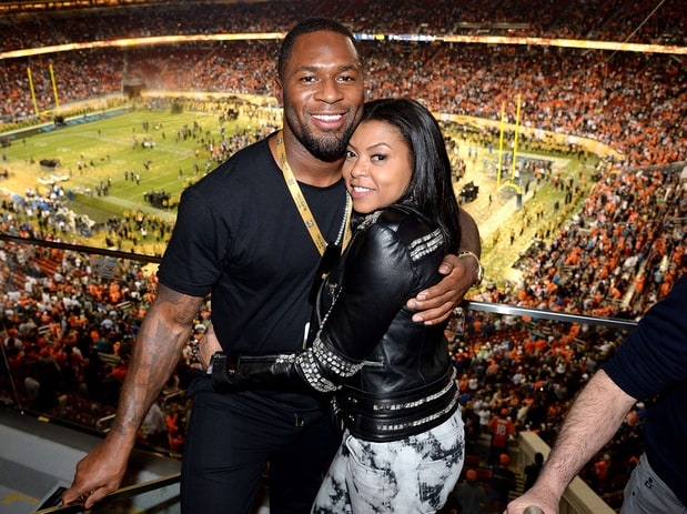 NFL player Kelvin Hayden and actress Henson attend Super Bowl 50 at Levi's Stadium on February 7, 2016 in Santa Clara, CA. Kevin Mazur/Getty Images