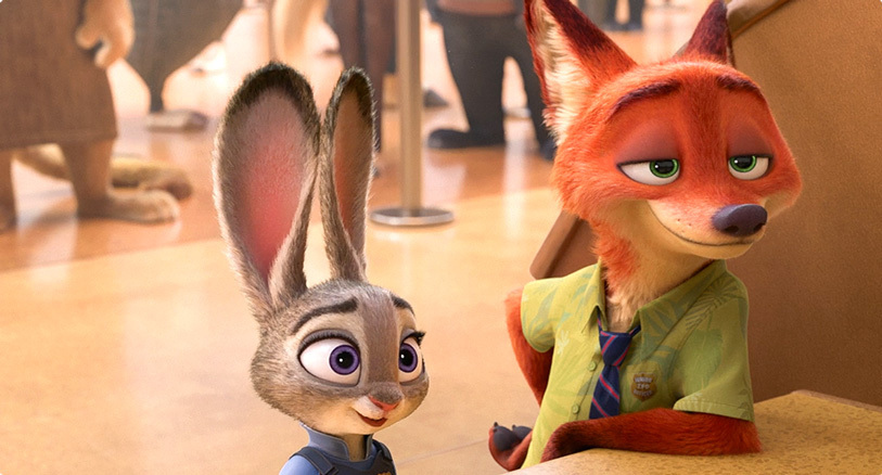 Judy Hopps (left) , Nick Wilde (right). -Zootopia