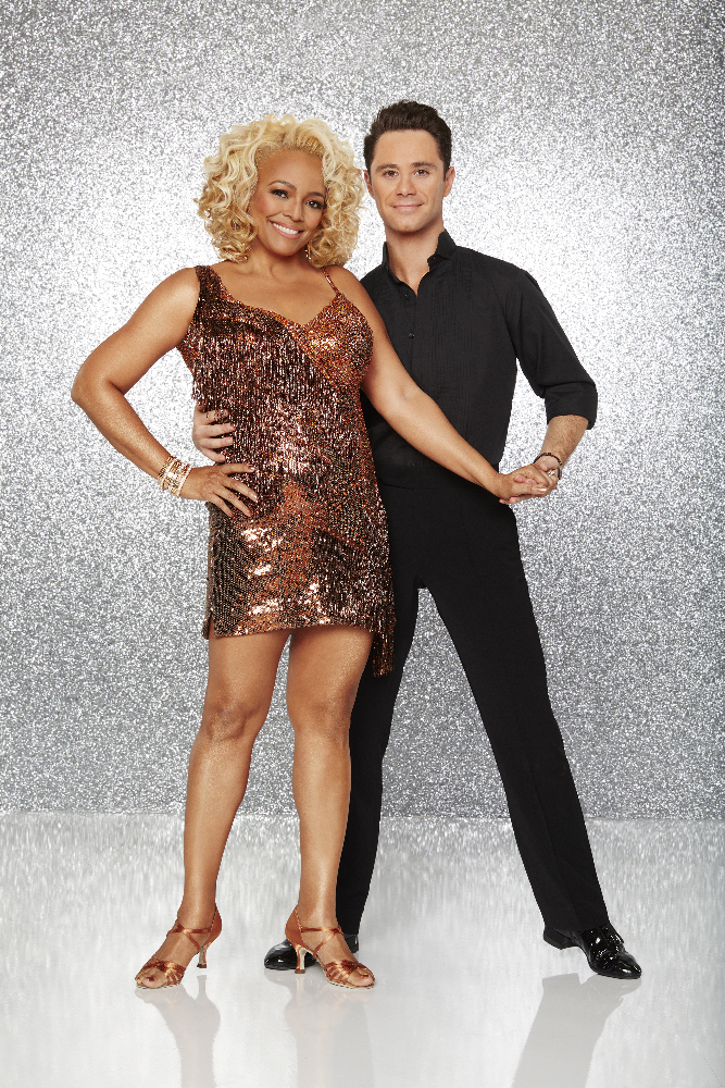 """DANCING WITH THE STARS - KIM FIELDS AND SASHA FARBER - The stars grace the ballroom floor for the first time on live national television with their professional partners during the two-hour season premiere of """"Dancing with the Stars,"""" which airs MONDAY, MARCH 21 (8:00-10:01 p.m., ET) on the ABC Television Network. (ABC/Craig Sjodin)"""