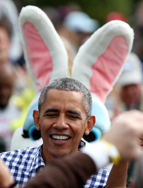 WASHINGTON, DC - MARCH 28: U.S. President Barack Obama greets guests on the South Lawn of the White House during the annual White House Easter Egg Roll March 28, 2016 in Washington, DC. Thousands of people attended the 138-year-old tradition of rolling colored eggs down the White House lawn that was started by President Rutherford B. Hayes in 1878. (Photo by Win McNamee/Getty Images)