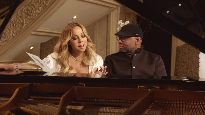 "Mariah Carey and James Wright while filming her new show for E!, ""Mariah's World."""