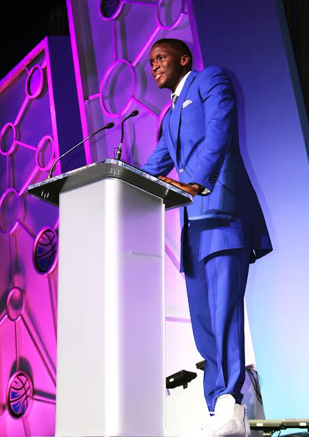 Victor Oladipo giving his acceptance speech at OMYF. Photo Credit: AntiqueOrange