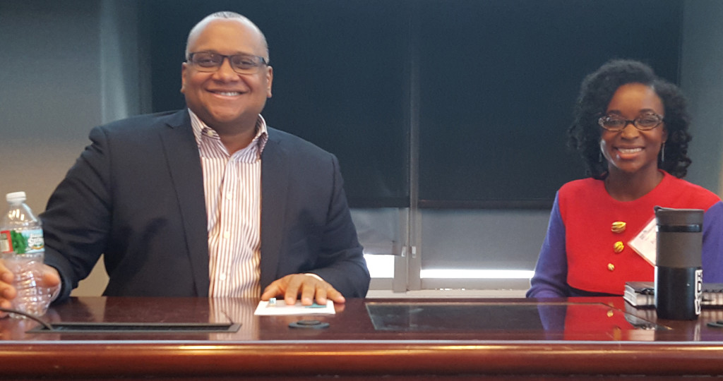 Panelists Marcus Mabry and Brionna Jimerson.