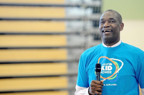 National Board Member U.S. Fund for UNICEF Chairman Dikembe Mutombo speaks at UNICEF Kid Power Event at Charles R. Drew Charter School on March 17, 2016 in Atlanta, Georgia.