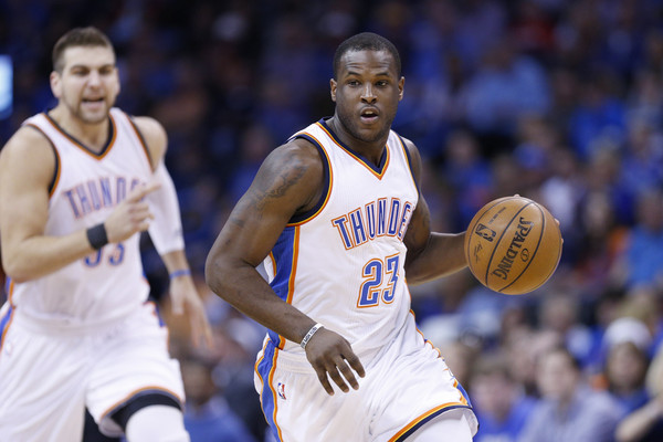 Dion Waiters #23 of the Oklahoma City Thunder dribbles up the court during the first quarter of the game against the Los Angeles Clippers at Chesapeake Energy Arena on February 8, 2015 in Oklahoma City, Oklahoma