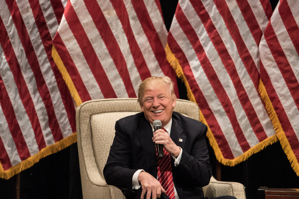 Republican presidential candidate Donald Trump addresses the crowd during a campaign rally at Lenoir-Rhyne University March 14, 2016 in Hickory, North Carolina.