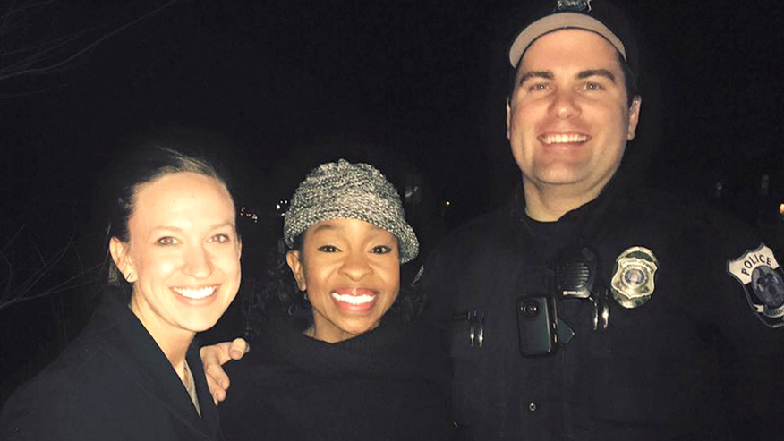 This photo provided by officer Paul Rogerson of the shows Rogerson, right, of the Pleasant Grove Police Department in Utah, singer Gladys Knight, center, and Rogerson's wife, left.