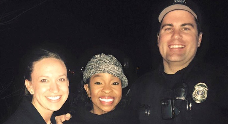 This photo provided by officer Paul Rogerson of the shows Rogerson, right, of the Pleasant Grove Police Department in Utah, singer Gladys Knight, center, and Rogerson's wife, left.  Knight was a passenger in the car stopped for speeding in the town about 40 miles south of Salt Lake City, Pleasant Grove Police Capt. Mike Roberts said. Officer Rogerson got the driver's license and was checking it in his patrol car when the woman told him that she was with Knight on the way to a Church of Jesus Christ of Latter-day Saints choir event. (Courtesy of Paul Rogerson via AP)