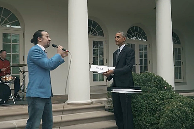 Lin Manuel Miranda and President Obama