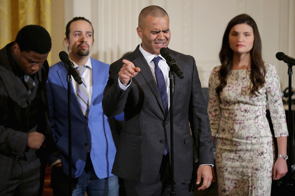Members of the Broadway cast of 'Hamilton,' including (L-R) Okieriete Onaodowan, creator and star Lin-Manuel Miranda, Christopher Jackson, and Phillipa Soo perform music from the production in the East Room of the White House March 14, 2016 in Washington, DC.