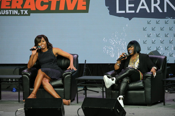 First Lady Michelle Obama and Missy Elliott speak on stage during the SXSW Keynote: Michelle Obama during 2016 SXSW Music, Film + Interactive Festival at Austin Convention Center on March 16, 2016 in Austin, Texas.