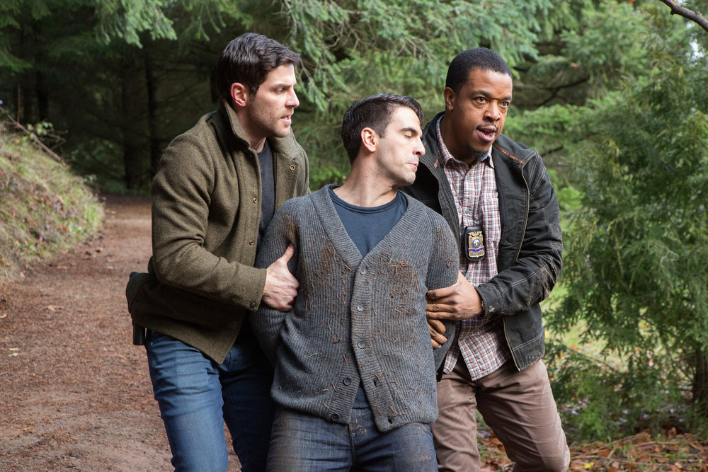 "GRIMM -- ""Lycanthropia"" Episode 514 -- Pictured: (l-r) David Giuntoli as Nick Burkhardt, Russell Hornsby as Hank Griffin -- (Photo by: Scott Green/NBC)"