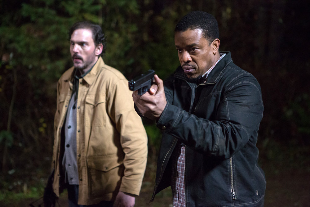 "GRIMM -- ""Lycanthropia"" Episode 514 -- Pictured: (l-r) Silas Weir Mitchell as Monroe, Russell Hornsby as Hank Griffin -- (Photo by: Scott Green/NBC)"