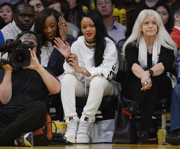 Rihanna attends a basketball game between the Los Angeles Lakers and the Golden State Warriors at Staples Center March 6, 2016, in Los Angeles, California.