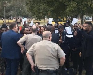 Black protesters escorted out of Trump rally at Valdosta State University in Georgia