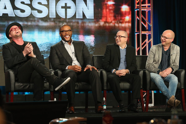 "(L-R) Executive Producer Adam Anders, Host/Narrator Tyler Perry, Executive Producer Mark Bracco and Executive Producer/Creator Jacco Doornbos speak onstage during ""The Passion"" panel discussion at the FOX portion of the 2015 Winter TCA Tour at the Langham Huntington Hotel on January 15, 2016 in Pasadena, California"