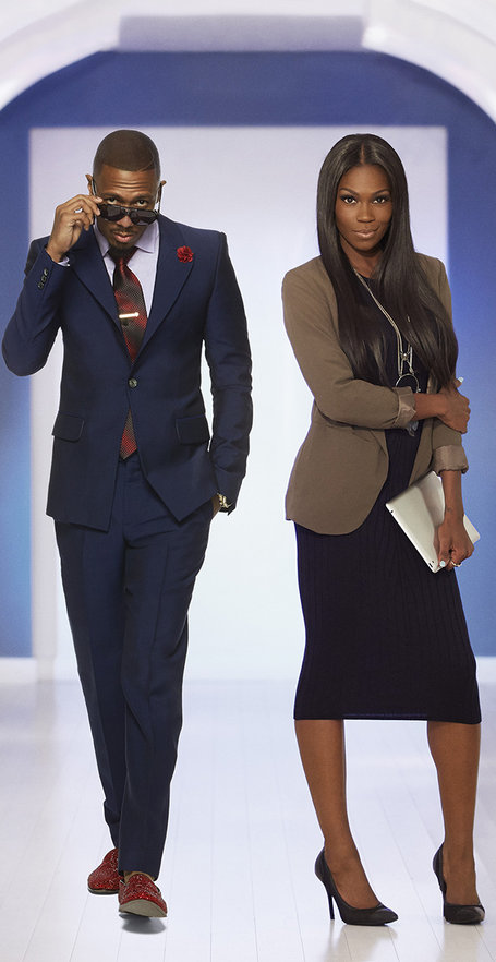 "Nick Cannon and his assistant Amber Grimes in Oxygen's ""Like a Boss'"