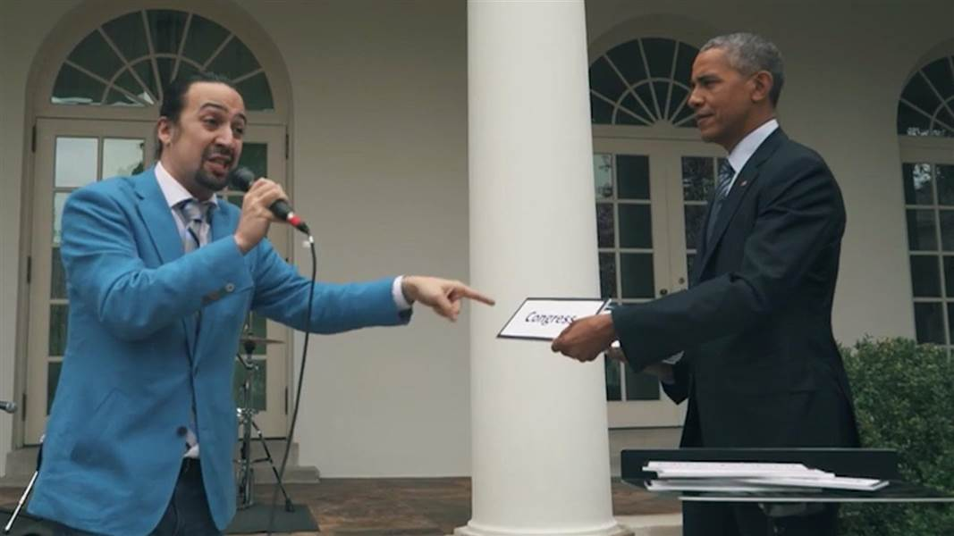 Lin Manuel Miranda and President Obama at the White House (March 14, 2016)