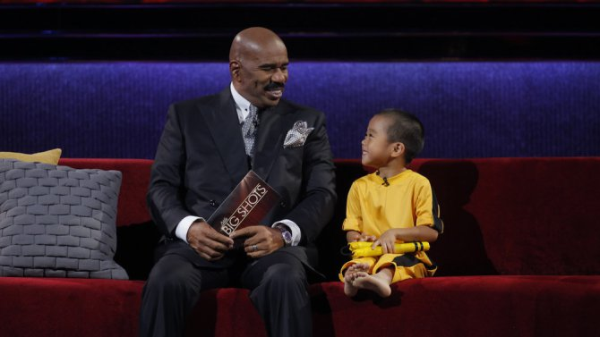 LITTLE BIG SHOTS -- Episode 101 -- Pictured: (l-r) Steve Harvey, Ryusei Imai -- (Photo by: Paul Drinkwater/NBC)