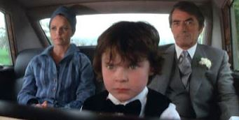 "Harvey Stephens (Damien) with Lee Remick and Gregory Peck in ""The Omen"""
