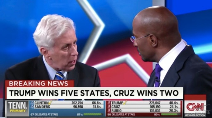 Jeffrey Lord (L) and Van Jones argue on CNN (March 1, 2016)