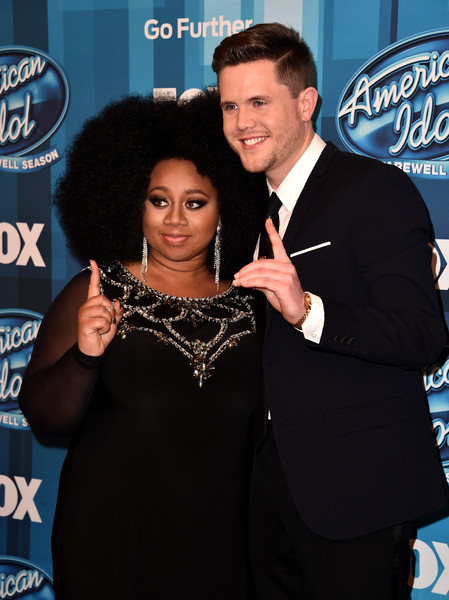 "Singers La'Porsha Renae (L) and Trent Harmon attend FOX's ""American Idol"" Finale For The Farewell Season at Dolby Theatre on April 7, 2016 in Hollywood, California."