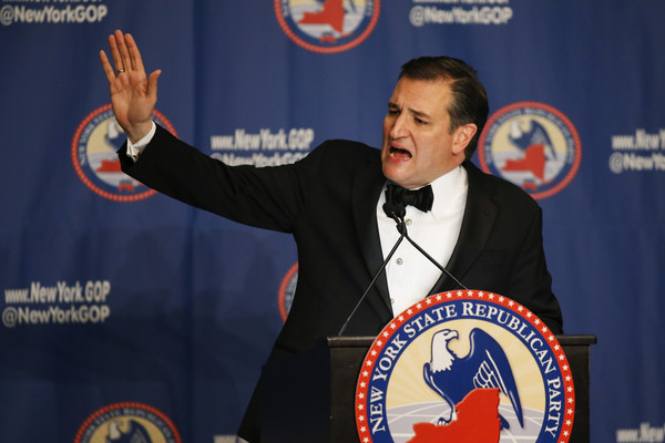 Republican presidential candidate Sen. Ted Cruz (R-TX) waves to the guests after speaking at the 2016 annual New York State Republican Gala on April 14, 2016 in New York City.