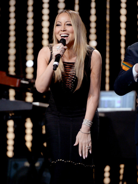Singer Mariah Carey performs onstage during the Venice Family Clinic Silver Circle Gala 2016 honoring Brett Ratner and Bill Flumenbaum at The Beverly Hilton Hotel on March 7, 2016 in Beverly Hills, California