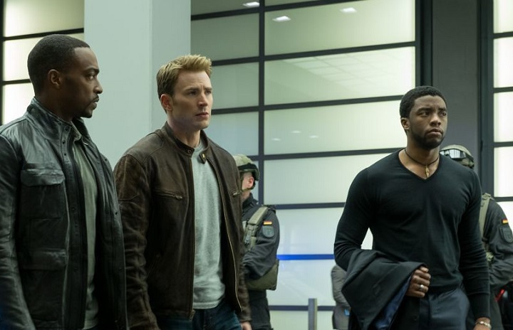 """(L-R) Anthony Mackie, Chris Evans and Chadwick Boseman in """"Captain America: Civil War"""""""