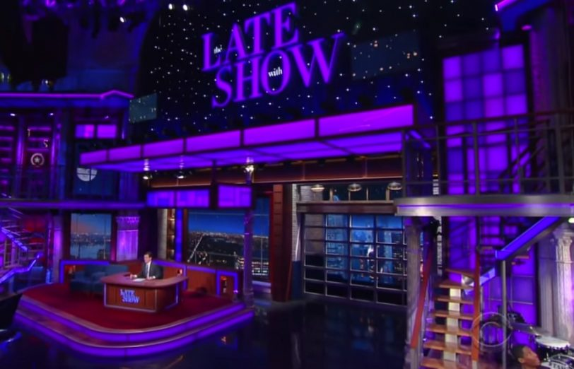 """Stephen Colbert features special purple lighting to honor Prince on """"The Late Show"""" (April 21, 2016)"""