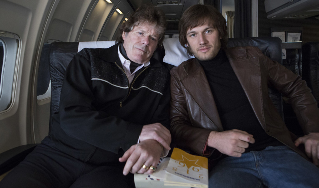 Jerry Schilling (left) and Alex Pettyfer, who plays Schilling (righ), on the set of Evis & Nixon.