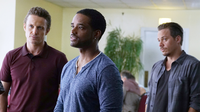 "GAME OF SILENCE -- ""Blood Brothers"" Episode 101 -- Pictured: (l-r) David Lyons as Jackson Brooks, Larenz Tate as Shawn Cook, Michael Raymond-James as Gil Harris -- (Photo by: Annette Brown/NBC)"