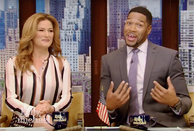 "Ana Gasteyer (subbing for no-show Kelly Ripa) and Michael Strahan on ""Live with Kelly and Michael"""