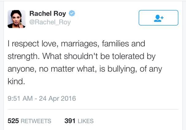 rachel roy response to beyhive critisism of 'Sorry' reaction