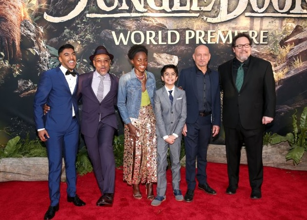 Ben Kingsley, Giancarlo Esposito, Jon Favreau, Lupita Nyong'o, Ritesh Rajan and Neel Sethi at 'The Jungle Book' premiere