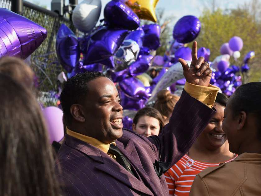Maurice Phillips, the brother-in-law of Prince, talks with fans following a memorial service held inside the Paisley Park compound of music legend Prince, who died suddenly at the age of 57, in Minneapolis, Minnesota, on April 23, 2016. Family, friends and musicians attended the service after the remains of Prince were cremated before being placed in a private location. MARK RALSTON / AFP/GETTY IMAGES