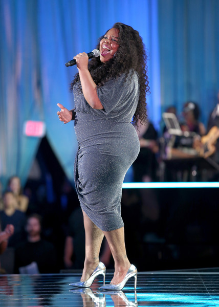 Actress Amber Riley performs onstage during the 2016 TV Land Icon Awards at The Barker Hanger on April 10, 2016 in Santa Monica, California.