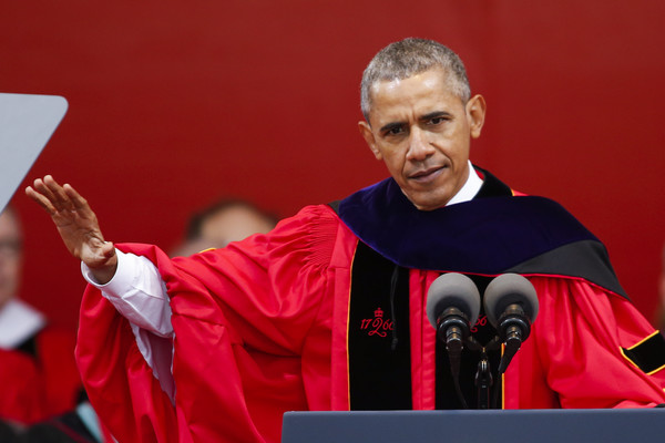 U.S. President Barack Obama speaks after receiving an honorary doctorate of laws during the 250th anniversary commencement ceremony at Rutgers University on May 15, 2016 in New Brunswick, New Jersey. Obama is the first sitting president to speak at the school's commencement.